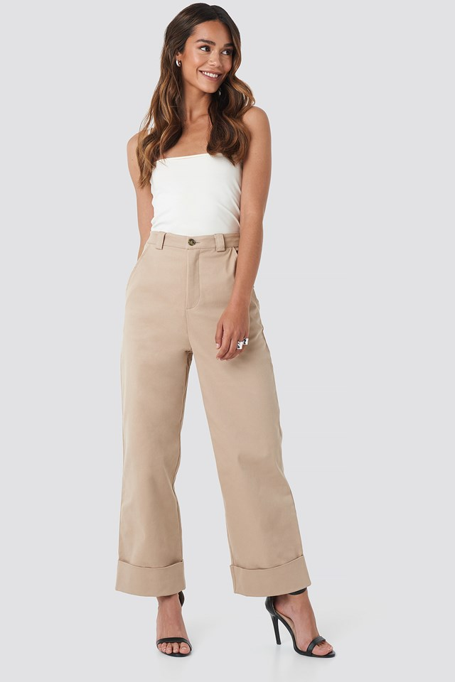 Straight Cut Pants Beige
