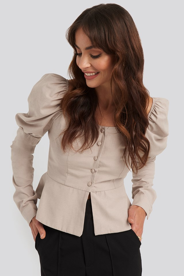 Buttoned Puff Sleeve Blouse Beige