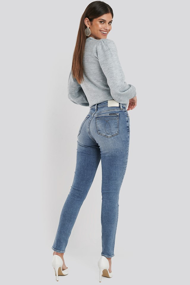 010 High Rise Skinny Jeans Mid Blue