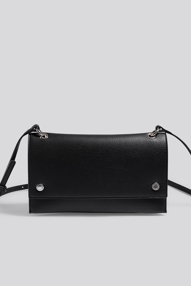 Banner Shoulder Flap Bag Black
