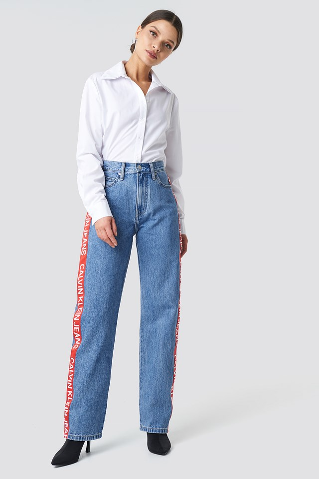 High Rise Straight Jeans Iconic Mid Stone Side Stripe