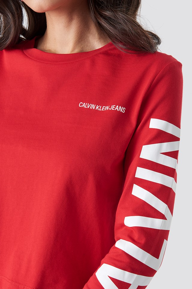 Institutional Back Logo Tee Racing Red/White