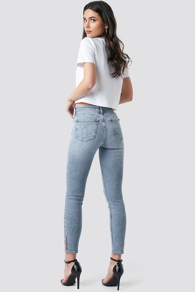 Mid Rise Skinny Ankle Jeans Morris Embroidery Red Hem