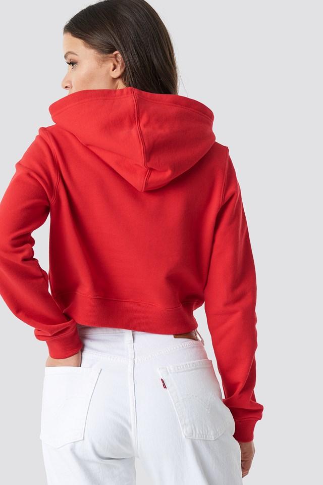 Monogram Embroidery Hoodie Racing Red