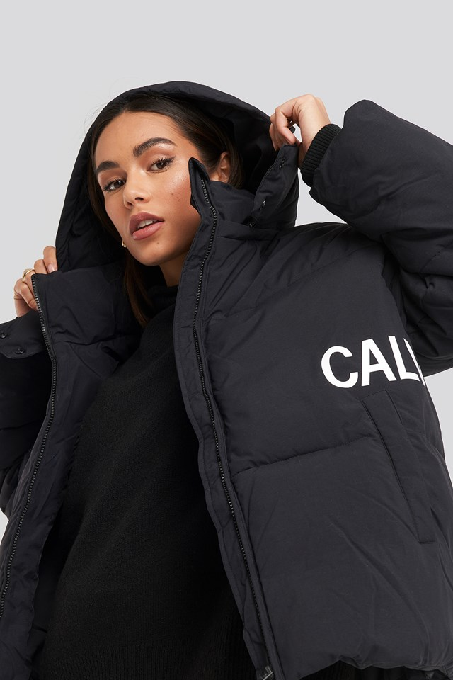 Oversized Logo Puffer Jacket CK Black