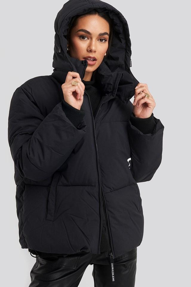 Oversized Logo Puffer Jacket CK Black