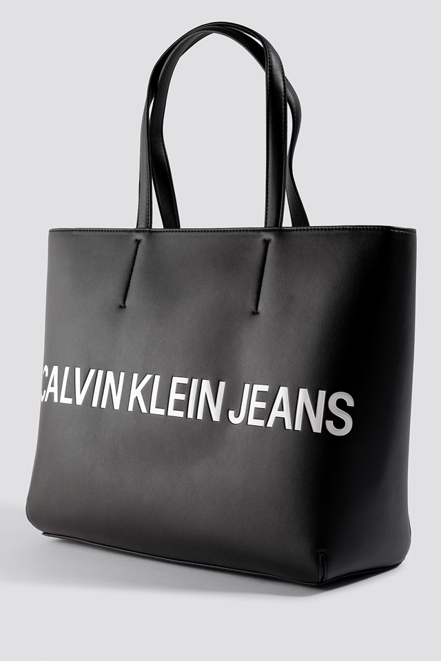 Sculpted Logo Tote Bag Black