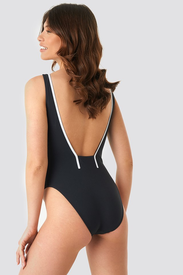 Square Back One Piece Swimsuit PVH Black