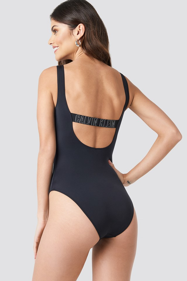 Square Scoop One Piece Swimsuit PVH Black