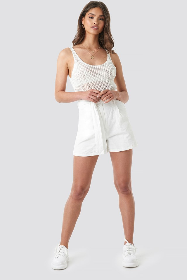 Crochet Knitted Top Off White