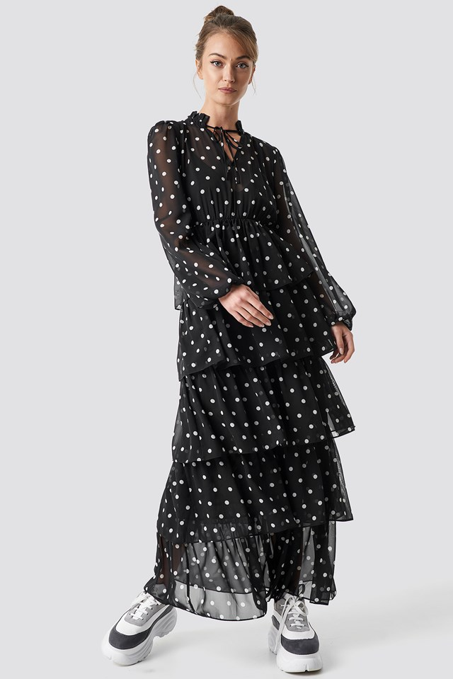 Dotted Frilled Maxi Dress Dots
