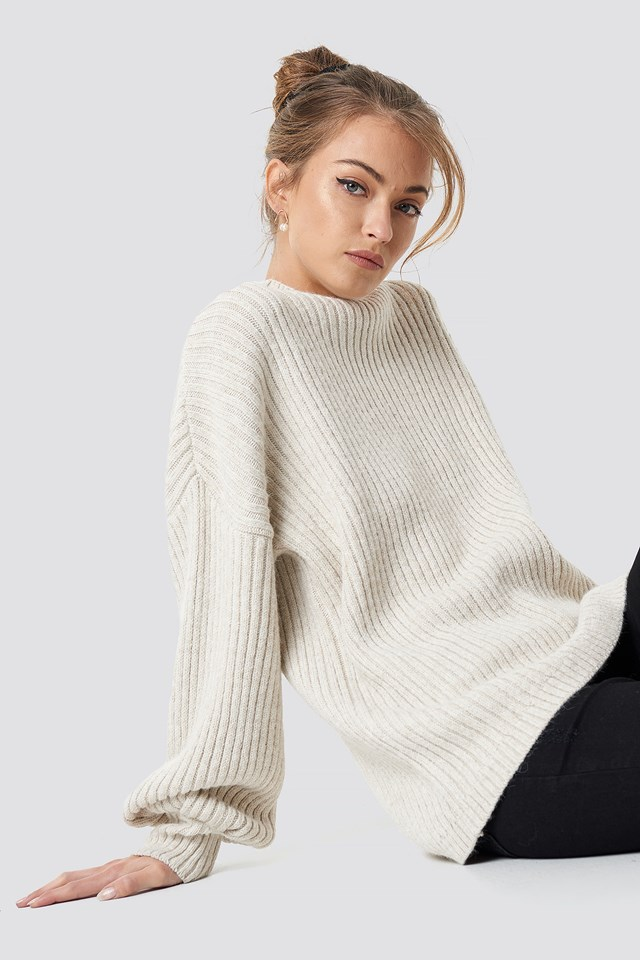 High Neck Oversize Sweater Beige