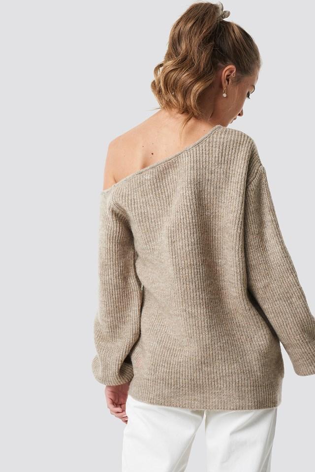 Off Shoulder Oversize Sweater Beige