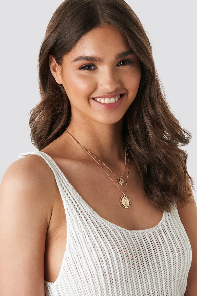 Round Pendant Necklace Gold
