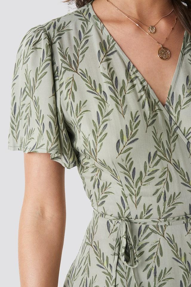 Wrap Mini Dress Green