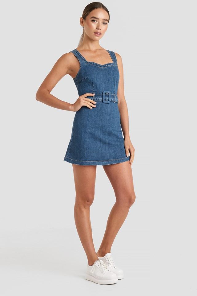 Belted Mini Denim Dress Blue