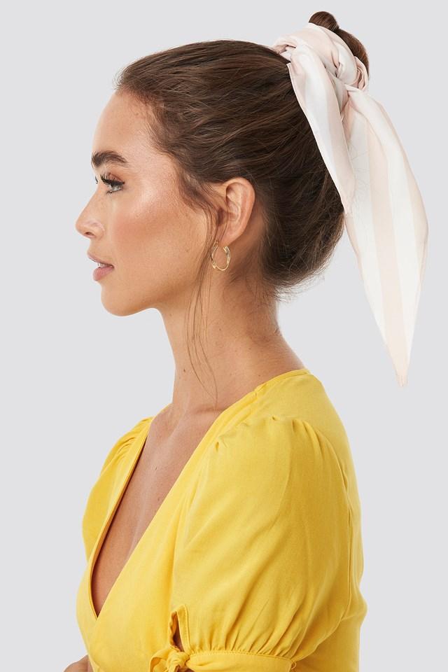 Hair Scarf Beige/White Stripe