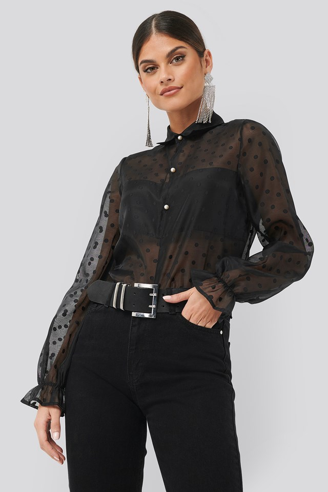Dotted Wide Sleeve Blouse Dots