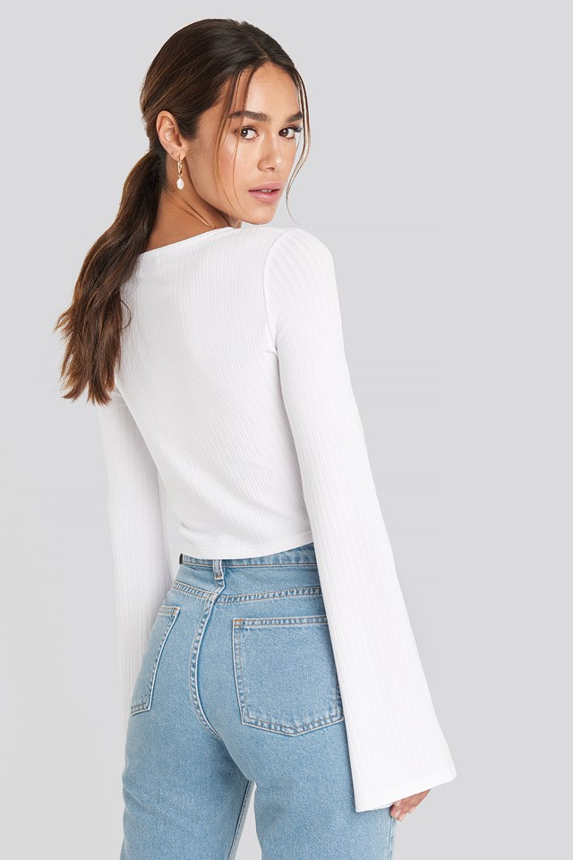 Pearl Detail Jersey Top White