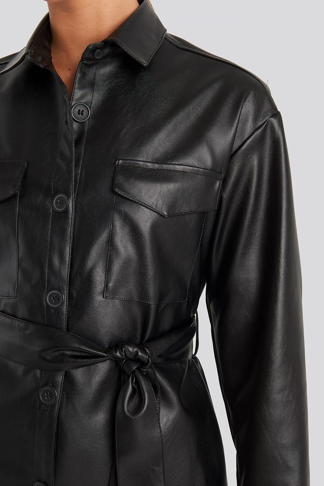 PU Belted Jacket Black