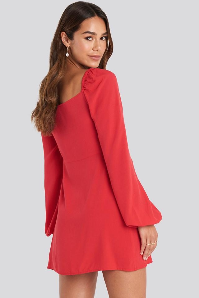 Ruffle Detail Button Dress Red