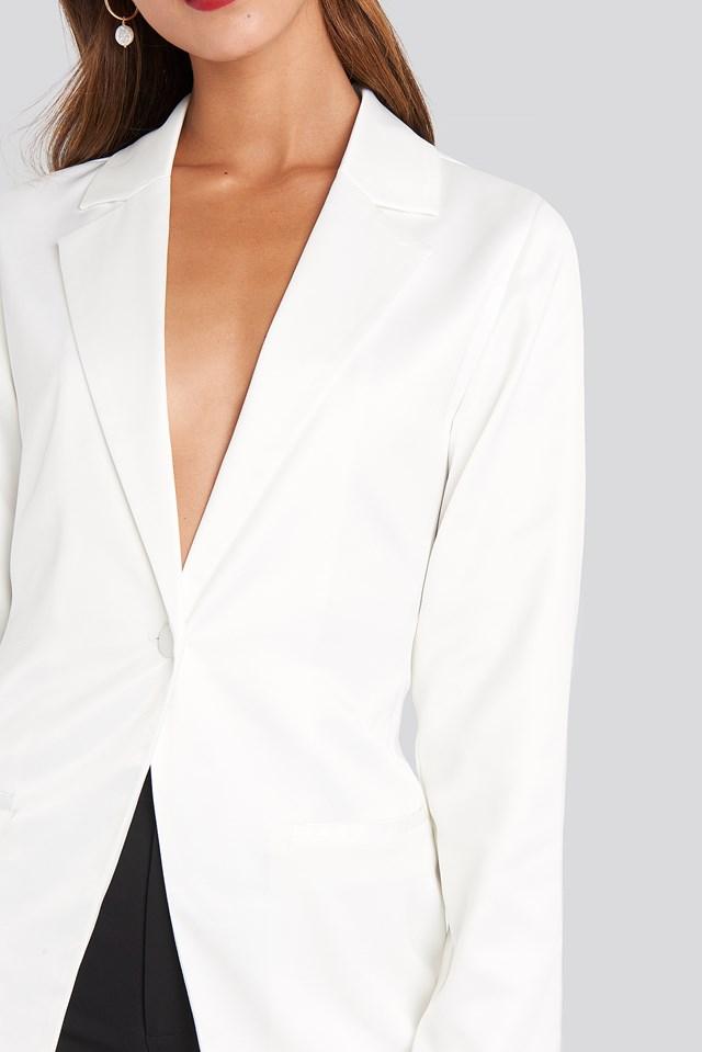 Shiny Fitted Blazer White