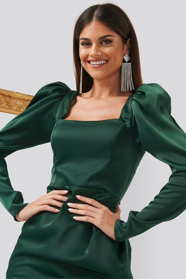 Square Neck Puff Sleeve Dress Emerald Green
