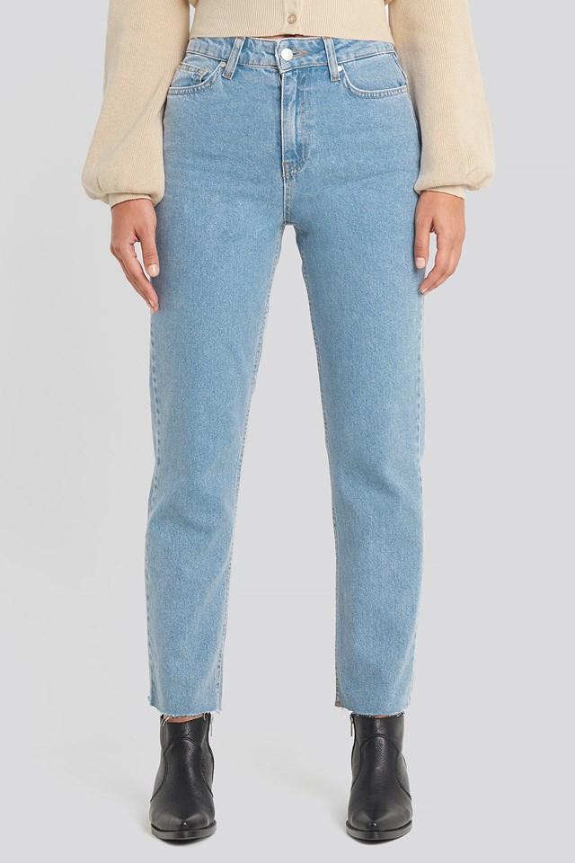 Straight Leg Jeans Mid Blue