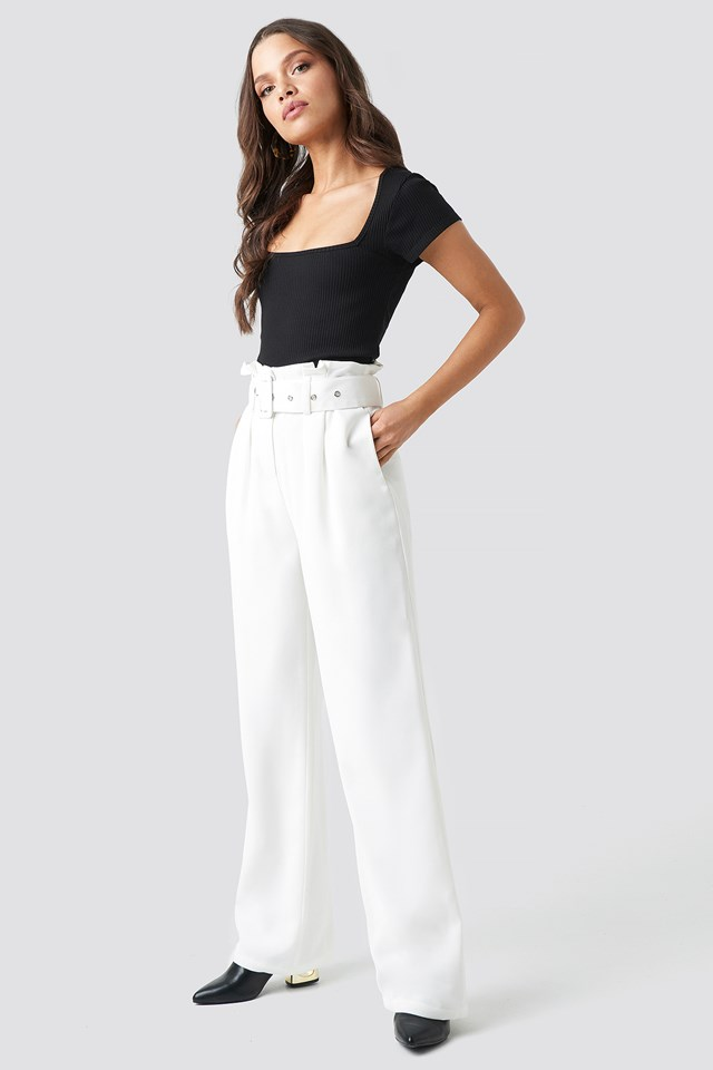 Belted Highwaist Flared Pants White