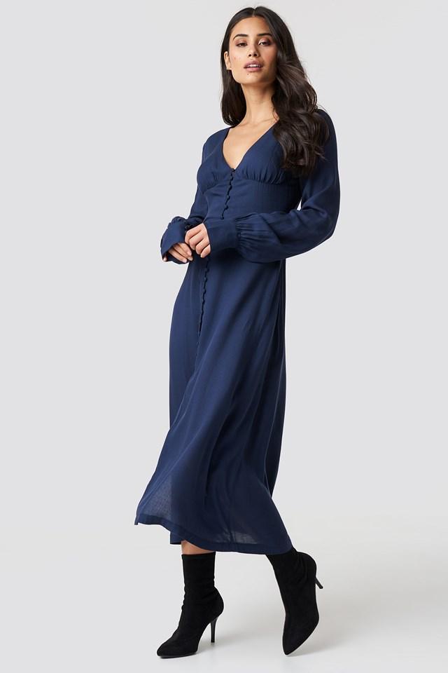 Buttoned Midi Dress DK Navy