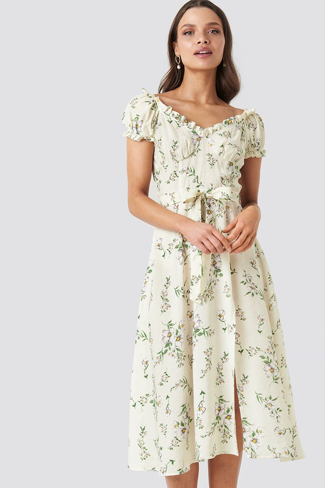 Off Shoulder Midi dress Flower Print