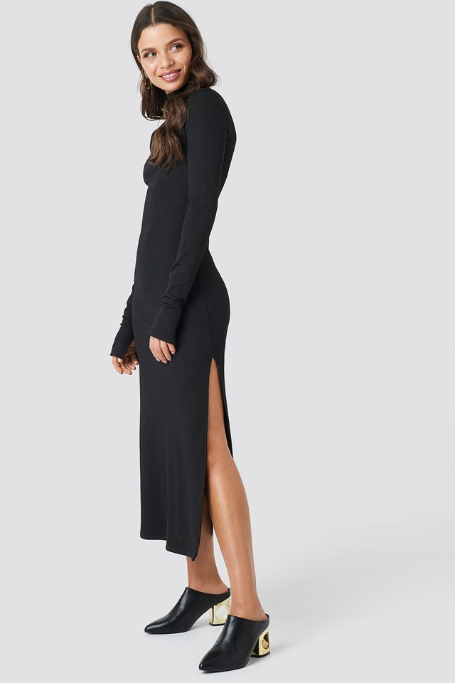 Polo Side Slit Midi Dress Black