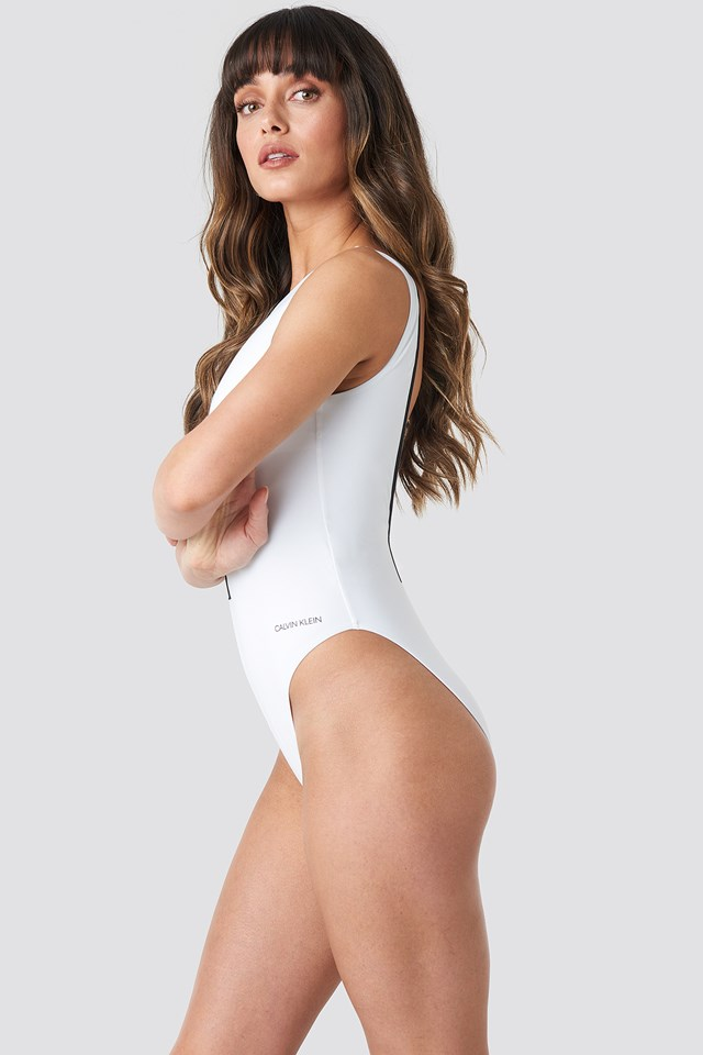 Square Back One Piece Swimsuit PVH White