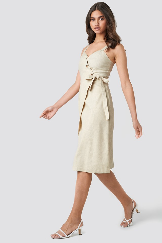 Button Detail Waistband Dress Beige