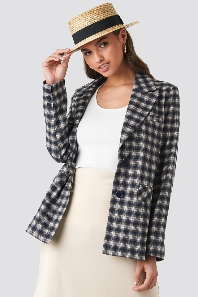 Checkered Straight Fitted Blazer NA-KD Classic