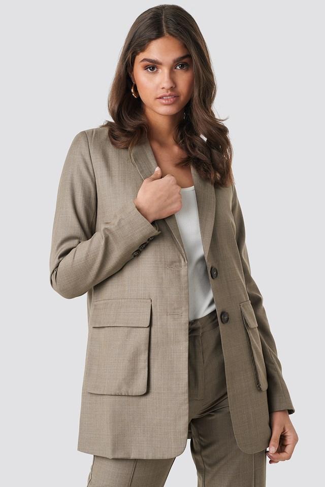 Front Pockets Long Blazer NA-KD Classic