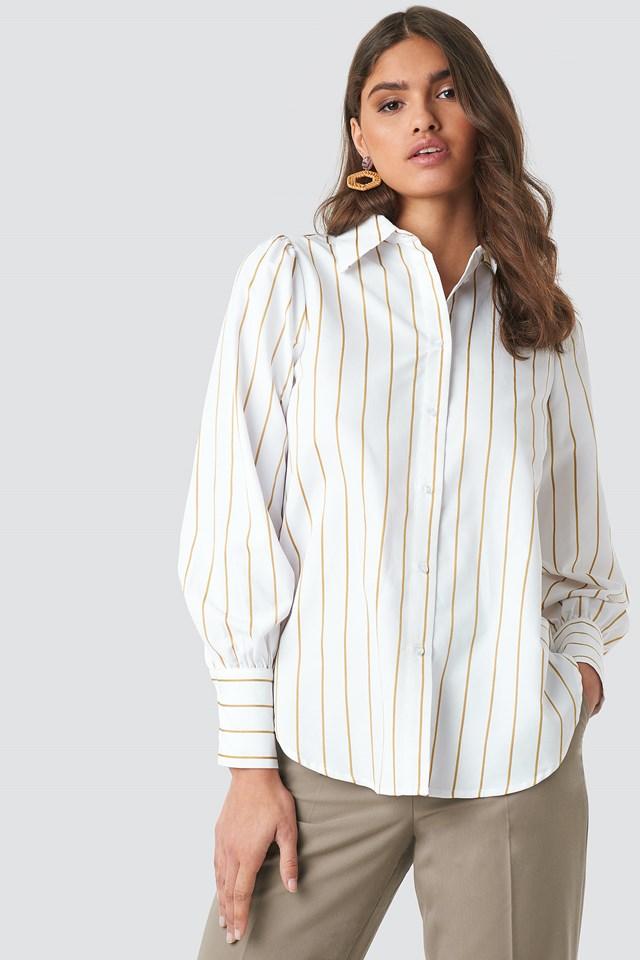 High Slit Oversized Striped Shirt Beige/White Stripe