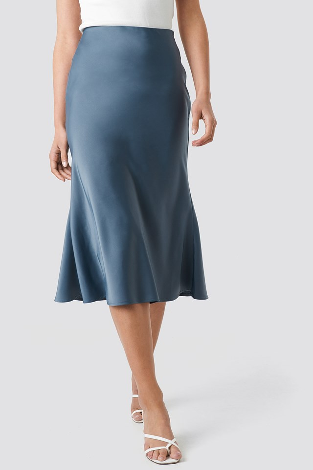 Satin Skirt Dusty Blue