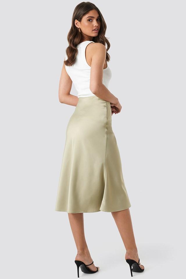 Satin Skirt Olive
