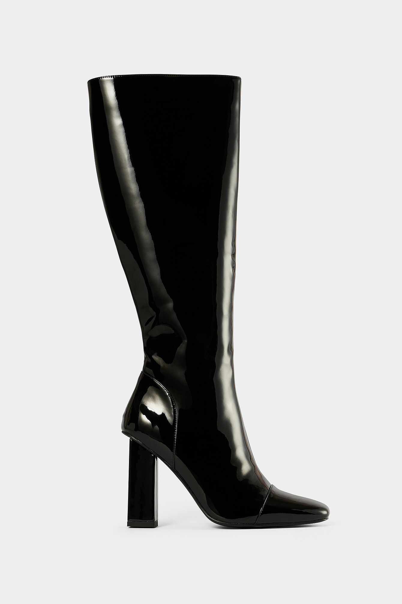 Black High Shaft Patent Boots