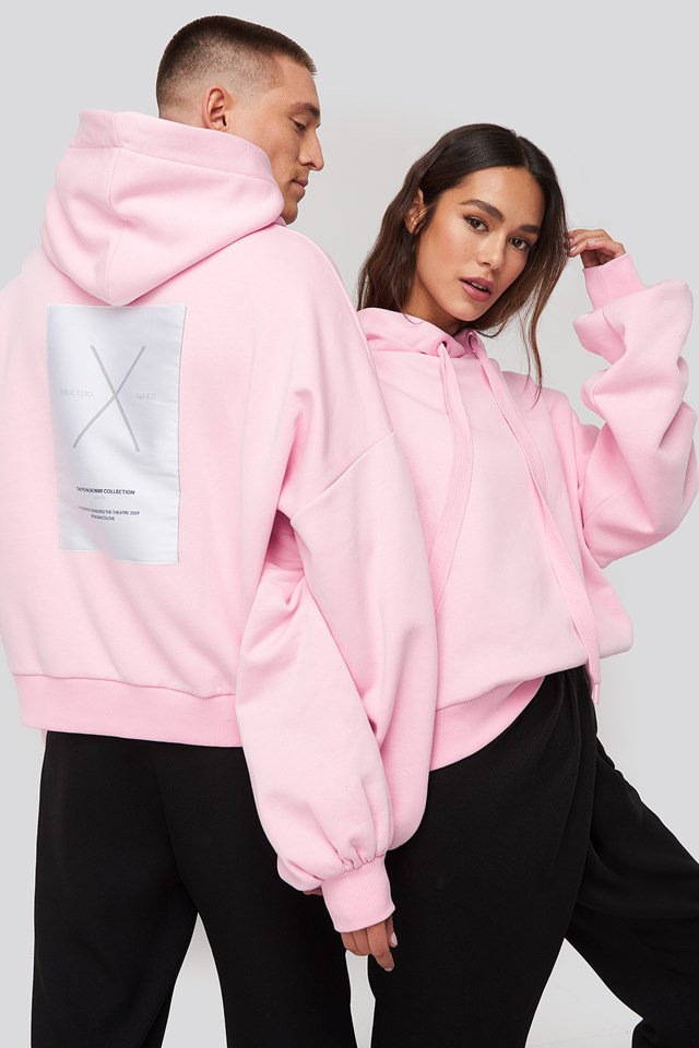 Dropped Shoulder Oversized Hoodie Pink