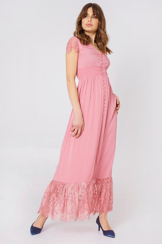 Buttoned Maxi Lace Dress Debiflue x NA-KD