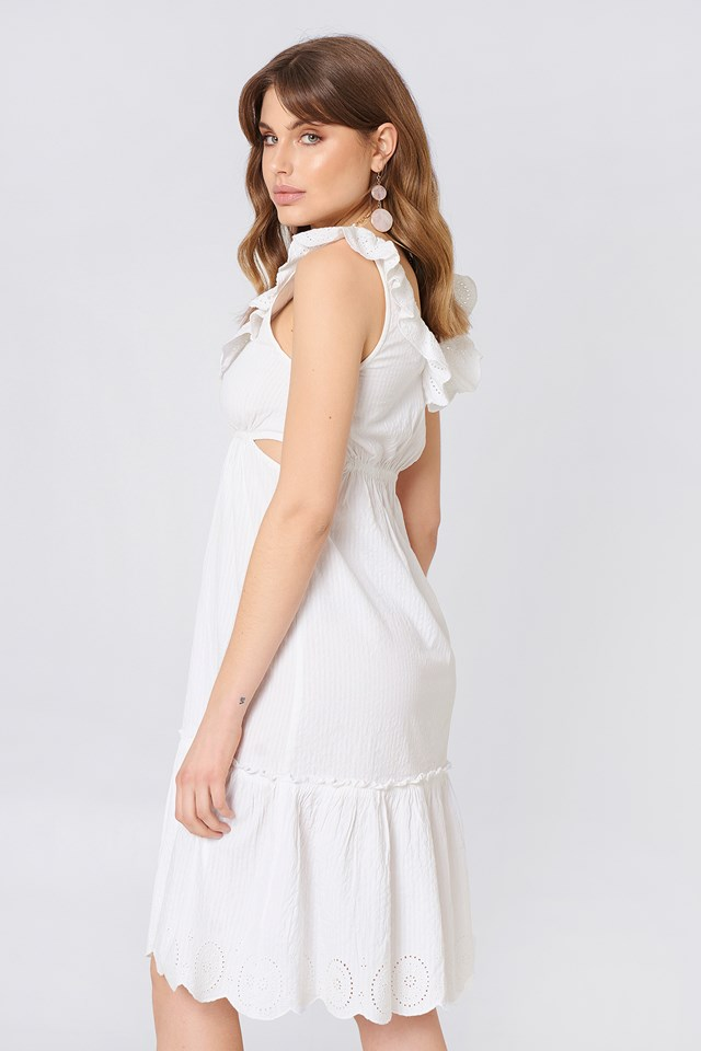 V Neck Cut Out Dress White