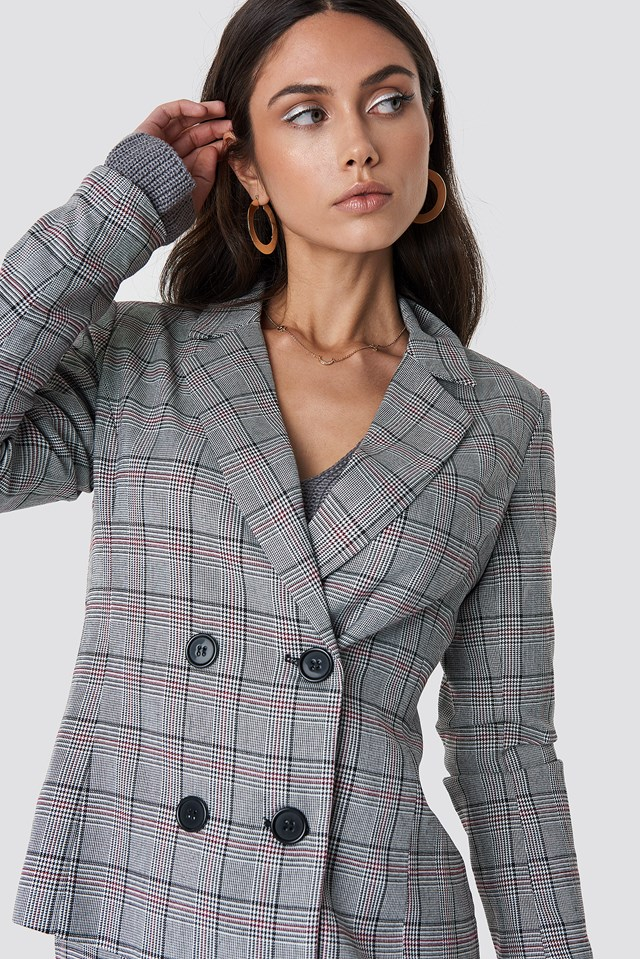 Checked Double Button Blazer Checked