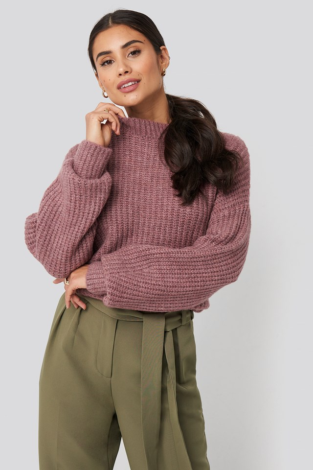 Dropped Shoulder Oversized Knitted Sweater Plum