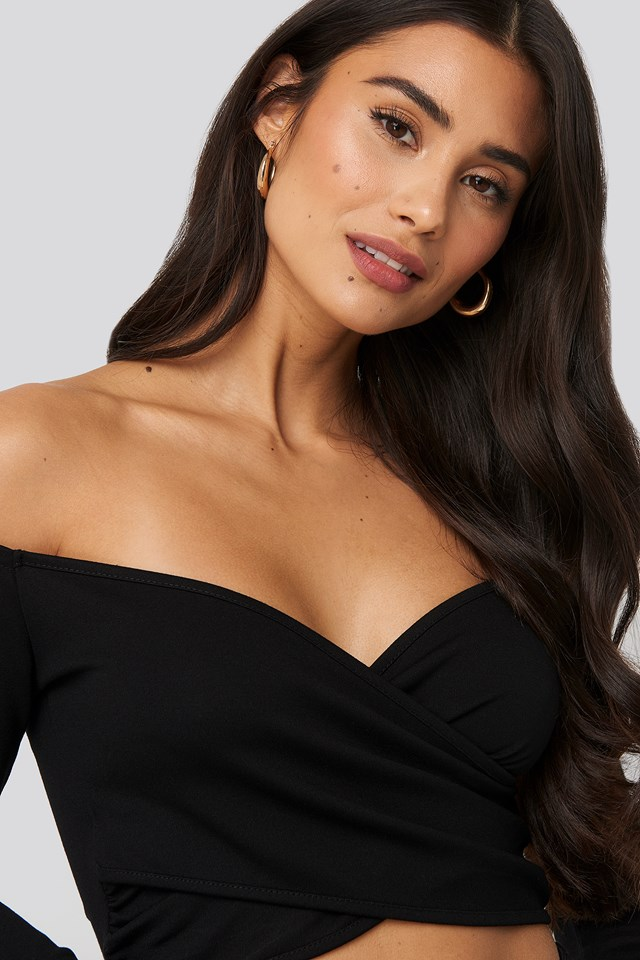 Off Shoulder Wrap Top Black