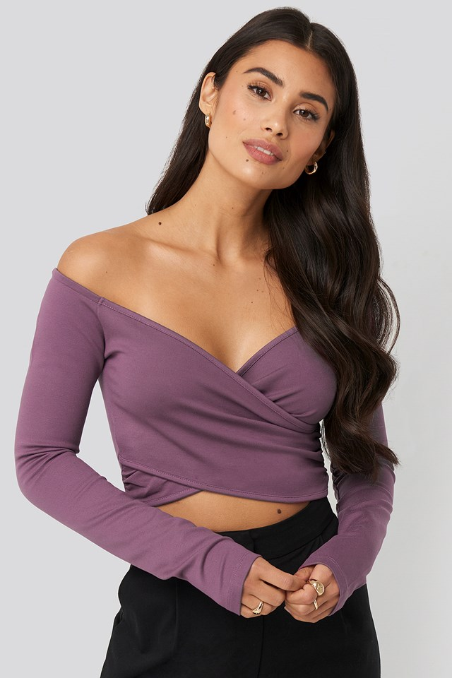 Off Shoulder Wrap Top Plum