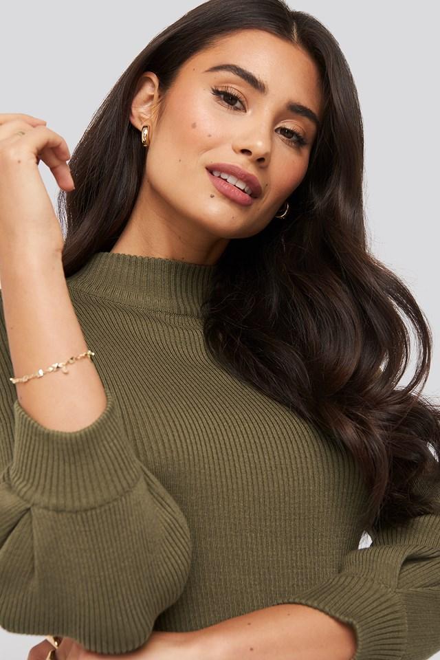 Puff Sleeve Knitted Sweater Khaki