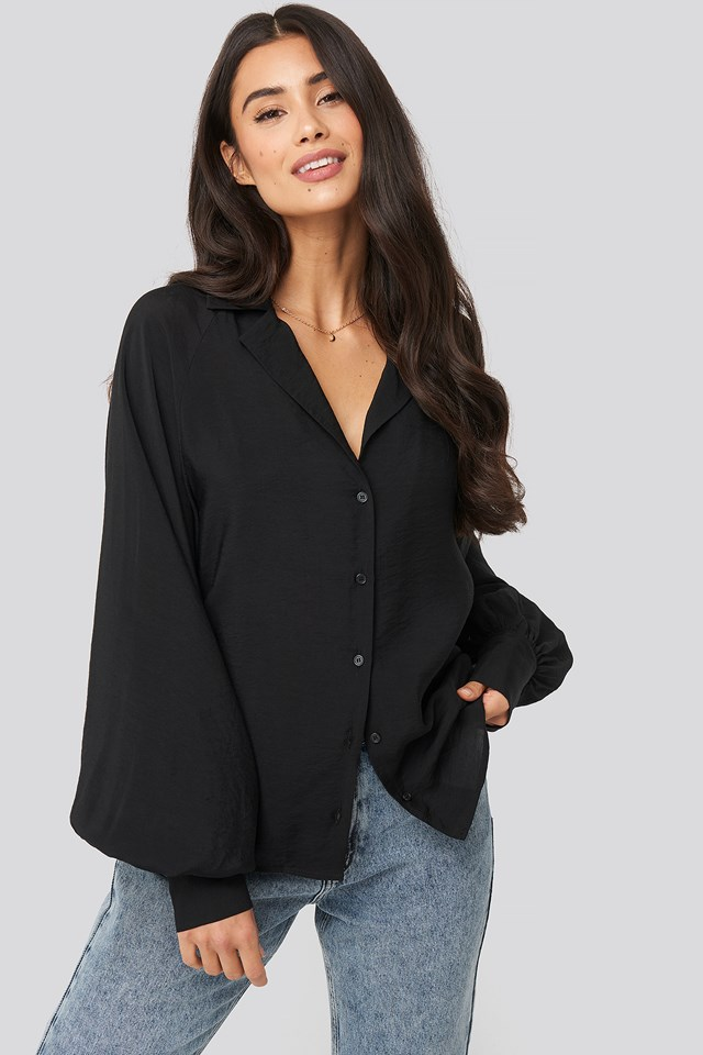Puff Sleeve Shirt Black