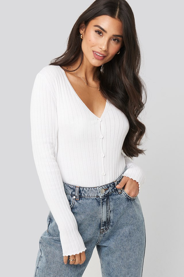 Ribbed Knitted Button Top Offwhite